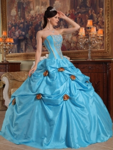 Lovely Sky Blue Quinceanera Dress Strapless Taffeta Beading and Hand Made Flowers Ball Gown