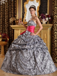 Popular Quinceanera Dress Sweetheart Zebra Ball Gown Zebra Sweetheart Sash Floor-length Quinceanera Dress Designer