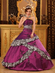 Pretty Purple Quinceanera Dress Strapless Taffeta Embroidery A-line