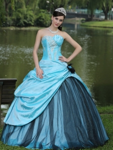 Aqua Blue Taffeta 2013 Quinceanera Dress Custom Made 2013 Aqua Blue Ball Gown Black Tulle Appliques