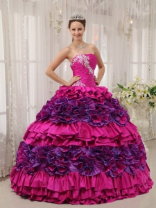 Cheap Fuchsia Quinceanera Dress Straplesas Taffeta Appliques and Ruch Ball Gown