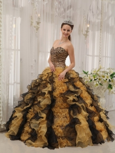 Classical Multi-colored Quinceanera Dress Sweetheart Organza Beading Ball Gown
