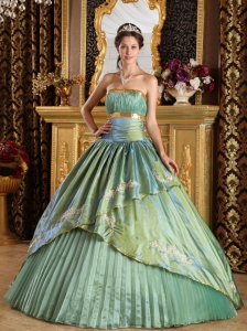 Discount Quinceanera Dress Strapless Taffeta and Organza Appliques A-line