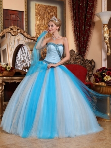 Lovely Multi-color Quinceanera Dress Sweetheart Tulle Beading Ball Gown