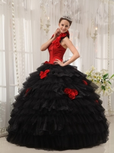 Modest Red and Black Quinceanera Dress Halter Taffeta and Organza Hand Flowers Ball Gown