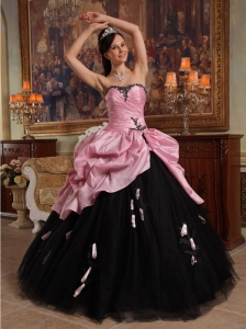 New Arrival Rose Pink and Black Sweet 16 Dress Sweetheart Hand Flowers Tulle and Taffeta Ball Gown