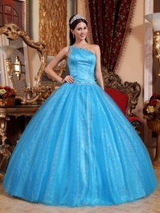 New Baby Blue Quinceanera Dress One Shoulder Tulle and Taffeta Beading Ball Gown