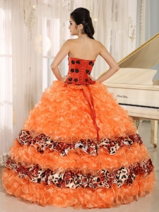 451cda1ed1 Orange Ruffles Appliques Sweetheart Quinceanera Dress Leopard For 2013 In  Honaunau City Hawaii. triumph. Loading zoom. This is a finished dress  tailored and ...