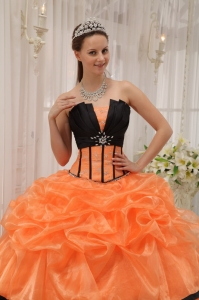 Orange and Black Strapless Satin Organza Beading Dress Sweet 15 ...