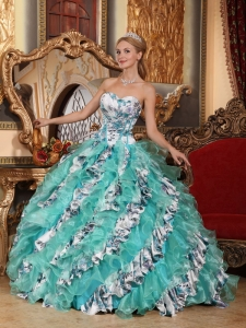 Romantic Multi-color Quinceanera Dress Ball Gown Sweetheart Organza Printing Ball Gown