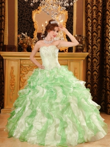 Simple Apple Green Quinceanera Dress Sweetheart Organza Beading and Ruffles Ball Gown