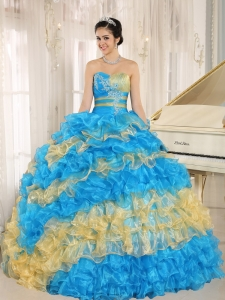 Stylish Multi-color 2013 Quinceanera Dress Ruffles With Appliques Sweetheart
