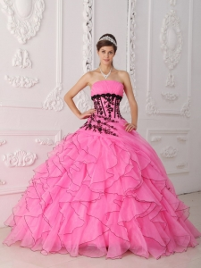 Sweet Rose Pink Quinceanera Dress Strapless Appliques and Ruffles Ball Gown