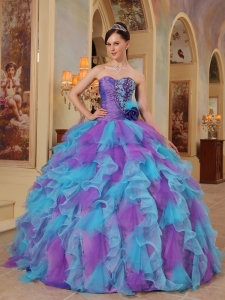 The Most Popular Purple and Aqua Blue Quinceanera Dres Sweetheart Ruffles Organza Ball Gown
