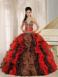 Wholesale Multi-color 2013 Quinceanera Dress V-neck Ruffles With Leopard and Beading In Resistencia
