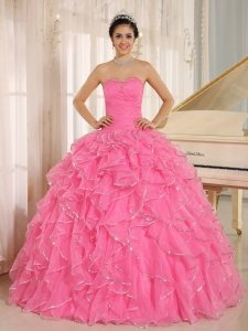2015 Ruffles and Beaded For Rose Pink Quinceanera Dress Custom Made In Kailua City Hawaii