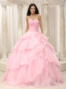 Pink Ruched Bodice Hand Made Flowers Decorate Waist For Quinceanera Dress