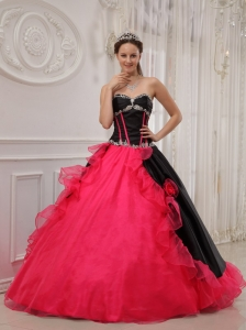 Beautiful Red and Black Quinceanera Dress Sweetheart Satin and Organza Appliques A-line