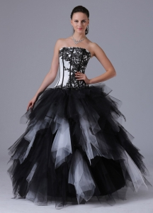Black and White Romantic Ball Gown Ruffles Quinceanera Dress With Embroidery Floor-length