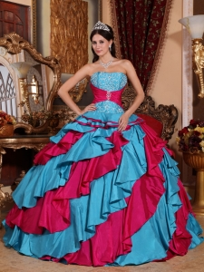 Discount Aqua Blue and Red Quinceanera Dress Strapless Taffeta Embroidery Ball Gown