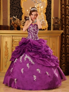 Formal Purple Quinceanera Dress Strapless Organza Appliques Ball Gown