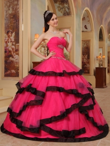 Gorgeous Coral Red and Black Quinceanera Dress Strapless Organza Appliques Ball Gown