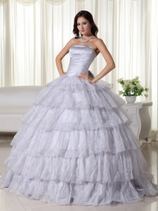 Gray Ball Gown Strapless Floor-length Organza Beading Quinceanera Dress