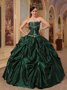 Latest Dark Green Quinceanera Dress Strapless Beading Taffeta Ball Gown