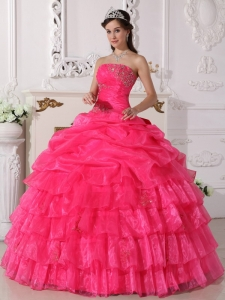 New Arrival Hot Pink Quinceanera Dress Strapless Organza Appliques Ball Gown