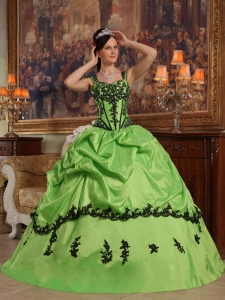 Popular Spring Green Quinceanera Dress Straps Appliques Taffeta Ball Gown