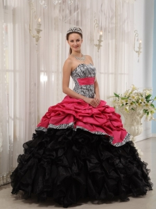 Pretty Brand New Red and Black Quinceanera Dress Sweetheart Ball Gown