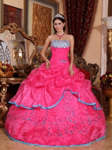 Pretty Hot Pink Quinceanera Dress Strapless Organza Appliques Ball Gown