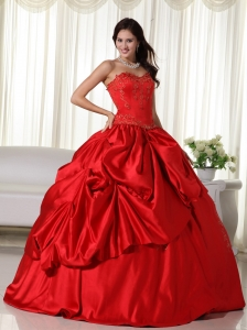 Red Ball Gown Sweetheart Floor-length Floor-length Embroidery Quinceanera Dress