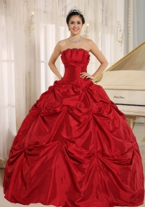 Wine Red Ball Gown Quinceanera Dress With Pick-ups For Custom Made Taffeta