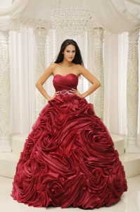 Wine Red Sweetheart Neckline Beaded Decorate Wasit Hand Made Flower A-line 2013 Quinceanera Dress For Formal Evening