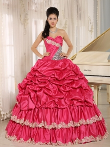 Hot Pink Beaded Appliques and Pick-ups Quinceanera Dress For Custom Made