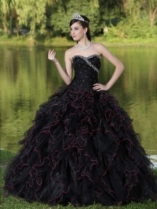 Beaded Decorate Bodice Sweetheart and Black Ball Gown For 2015 Quinceanera Dress Organza Ruffles Layered
