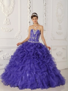 Discount Purple Quinceanera Dress Sweetheart Satin and Organza Appliques Ball Gown