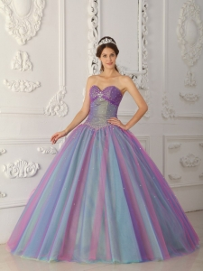 Elegant Multi-color Quinceanera Dress Sweetheart Tulle Beading Ball Gown