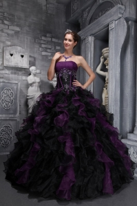 Black Strapless Dress on Exclusive Dark Purple And Black Quinceanera Dress Strapless Taffeta
