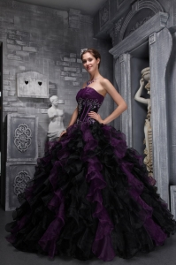 Strapless Ruffles Appliques Drak Purple and Black Quinceanera ...