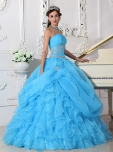 Fashionable Aqua Blue Quinceanera Dress Strapless Organza Beading Ball Gown