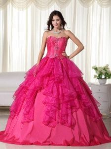 Hot Pink A-line Sweetheart Floor-length Organza Embroidery Quinceanera Dress