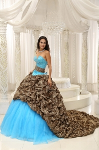 Leopard and Organza Beading Decorate Sweetheart Neckline Exquisite Style For 2015 Quinceanera Dress