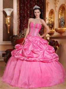 Modest Rose Pink Quinceanera Dress Sweetheart Taffeta Beading Ball Gown