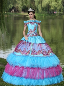 Off The Shoulder Appliques Ball Gown Quinceanera Dress For 2015 Floor-length Tiered Exclusive Style