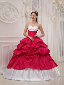 Popular Hot Pink and White Sweet 16 Dress Sweetheart Taffeta Beading and Pick-ups Ball Gown