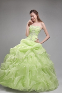Romantic Yellow Green Quinceanera Dress Strapless Orangza Beading and Ruffles Ball Gown