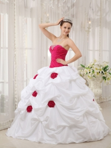 Sexy Hot Pink and White Quinceanera Dress Strapless Taffeta Hand Made Flower Ball Gown
