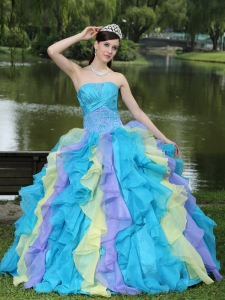 Sweet Appliques Ruffles Layered Colorful Quinceanera Dress Wear For Graduation
